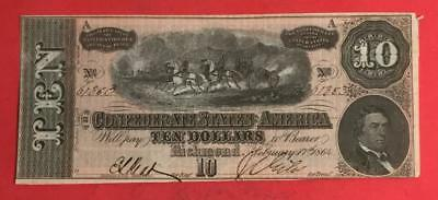 1864 $10 US Confederate States of America Choice Crisp AU! Old US Currency
