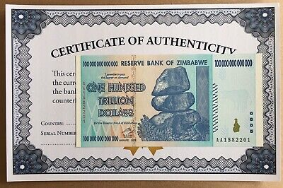 2008 100 Trillion Dollar Zimbabwe Zim Note P90 Unc Uv Inspected With Coa