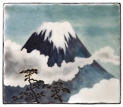 A Vintage Japanese Wireless Cloissone Plaque Of Mount Fuji
