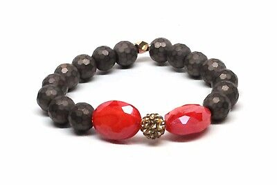 Druzy Beaded Gold Agated Bracelet With Coral and Grey Beads
