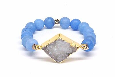 Druzy Beaded Agated Bracelet With White Stone & Matte Light Blue Beads