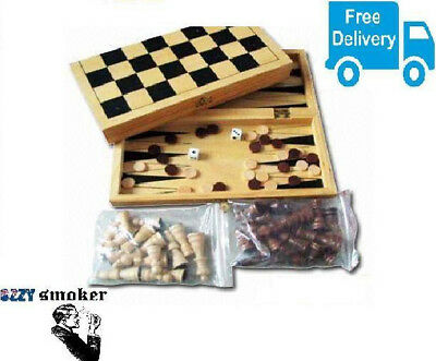 New Fold able Wooden 3 in 1 Board Game Set- Chess,Checkers, Backgammon- Gift