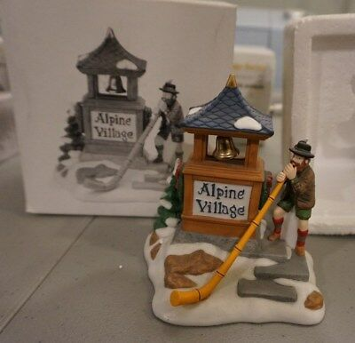 Dept. 56 Alpenhorn Player Retired 2001 Alpine Village Sign 56182