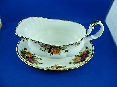 Royal Albert LTD 1962 Old Country Roses gravy boat sauce boat & saucer or tray