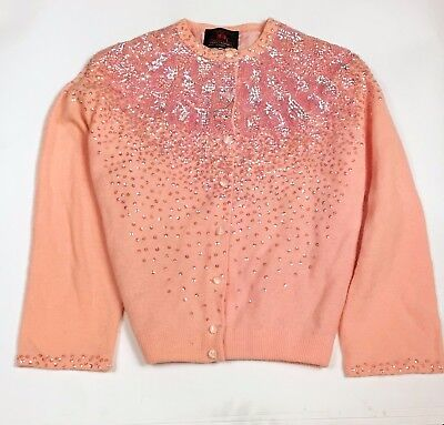 Vtg Fully Fashioned Peach Pink Sequined Cardigan Sweater Lambswool Lined S M