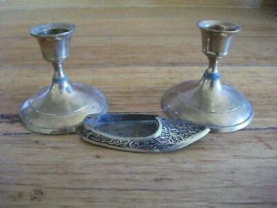 Brass candle Holders Shoe ashtray Collectable
