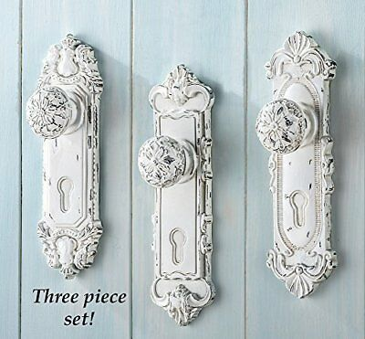 Set of 3 Shabby Chic French Country Door Knob Hand Painted Antiqued White