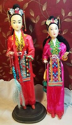 2 Chinese Female Dolls - One On Stand