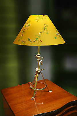 Antique Pullman adjustable table/wall lamp hand painted Chinoiserie lampshade