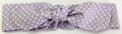Baby Girl Cotton Headband Lilac With Dots Handmade In Australia Baby Shower Gift