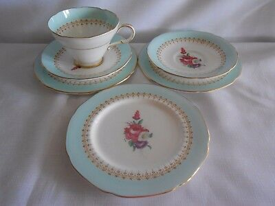 Paragon England * 1 Cup 2 Saucers 3 Side Plates Blue Boarder Posy Flower Centre