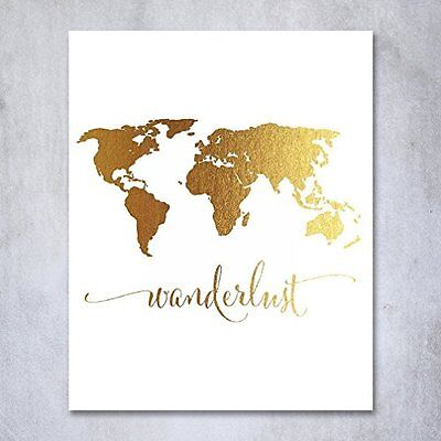 Wanderlust poster map travel inspired scratch 229 stickers quality posters prints wanderlust world map gold foil art travel traveler poster wall gumiabroncs Choice Image