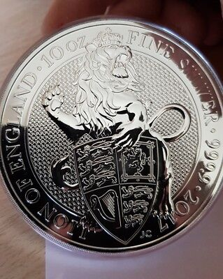 10oz queens beast.999 fine silver. lion of england