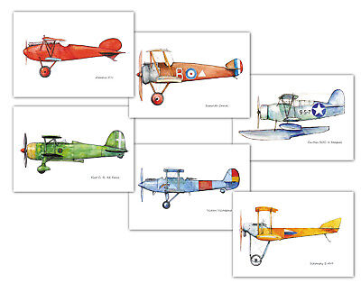 Airplane nursery decor set 6 prints 5x7 in Vintage aviation theme wall art