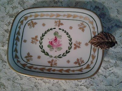 Vintage LIMOGES Collectible Rectangle Dish-Ashtray with Leaf Detail