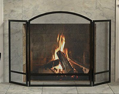 Fireplace Fence Baby Pet Safety Gate BBQ Fire 3-Panel Arch Screen Double Bar NEW