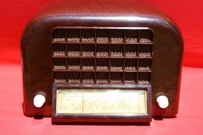 Superb Vintage Mottled Brown  Bakelite Awa Valve Radio