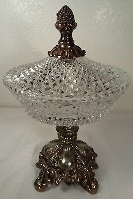 Antique Diamond Point Crystal Compote Candy Dish Footed Metal Base 10 1/4""