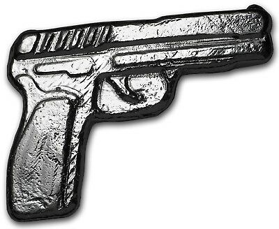 "2 Oz's of .999 FINE SOLID SILVER / HAND POURED BULLION 3-D ART / ""SILVER PISTOL"""