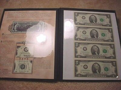 4 Uncut Uncirculated $2 Federal Reserve Notes In Holder With 369 Last #'s!  #30