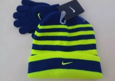NIKE Youth Boys Winter Hat Beanie Cap & Gloves Set Size 8/20 Blue / Volt New