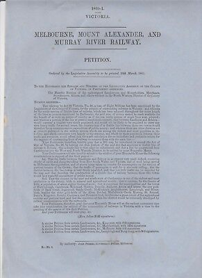 melbourne  to,mount alexander, and murray river railway 1860 victoria