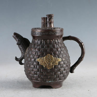 Chinese Gilt Copper Carp Teapot  Made During The Qianlong Period zp