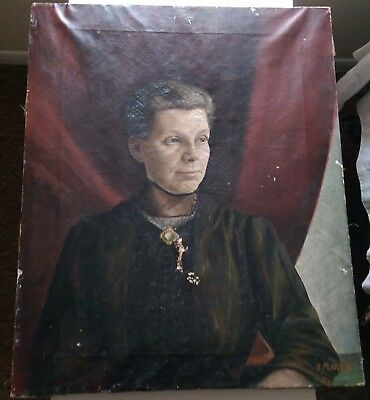 Antique Superb 19Th Century Oil Painting On Canvas Of A Noble Lady