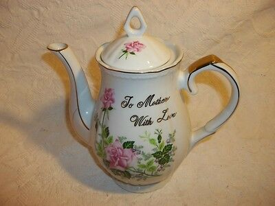 Vintage Norcrest Teapot Cermic  Says To Mother With Love