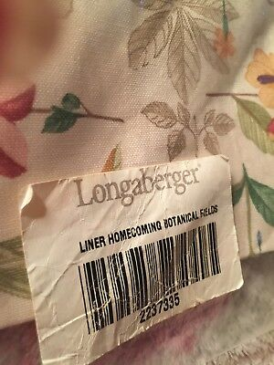 New LONGABERGER Homecoming Liner  BOTANICAL FIELDS Mint in bag