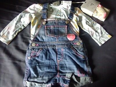 Bnwt Next Baby Girls Cat Denim Dungarees Shorts, Top & Tights Set 9-12 Months