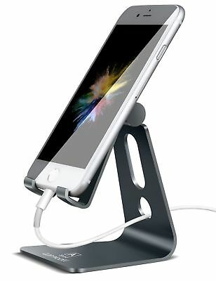 Aluminum Charging Dock Stand Adjustable Holder for All Android Smartphone Gray