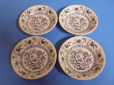 Lot Of 4 Blue Nordic Johnson Bros Bowls 5 1/8 Inches