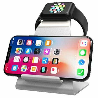 Premium Quality Aluminum Charging Dock Stand f/ SmartWatch & QI iPhones Silver