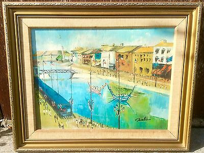Original oil painting FRENCH BOAT JOUSTING, AGDE, FRANCE, 1960's By MALIN