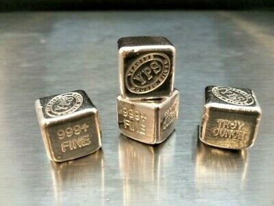 """1 oz .999 Fine Solid Silver Bullion: Yeager's Poured Silver / """"3-d Cube"""""""