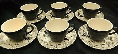 Retro 1960s Ridgway Homemaker Set of Six Small Coffee Cups & Saucers