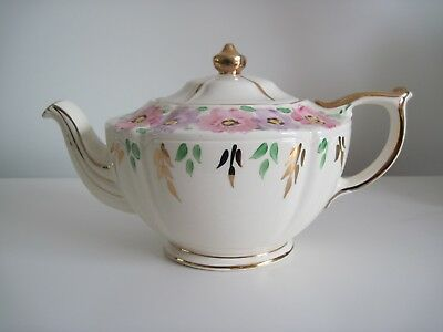Vintage Floral And Gilt Teapot - Sadler England
