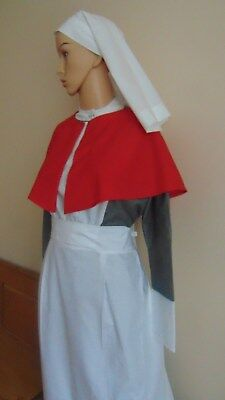 QAIMNS WW1 WW2 STYLE UNIFORM COSTUME - DRESS APRON red CAPE  AND  VEIL ALL SIZES