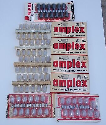 8 Boxes of Vintage M2 and M3B Flashbulbs by Amplex Flash bulbs