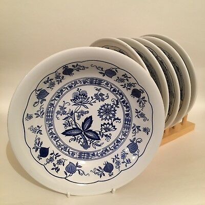 Staffordshire Tableware Blue Onion 6 Pasta Cereal Soup Bowls