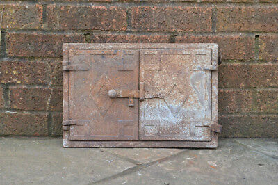 41.5 x 28 cm old cast iron fire bread oven door doors flue clay range pizza