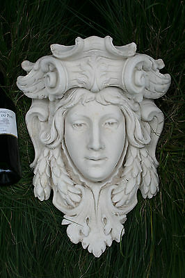 Antique Xl heavy French Chalkware plaster Caryatid goddess head wall console no2