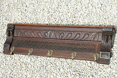 Antique Flemish wood oak carved lion heads coat rack 1935