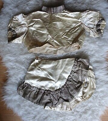 Vintage 30s 40s Dance Costume/white Satin skirt top/ theatre outfit antique 1930
