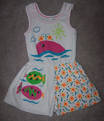 Vintage 1980's 1990's Toddler Kids Size 3T Fish Whale Summer Romper