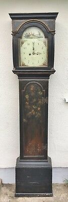 Lovely 18th / 19th century antique longcase grandfather clock. Handpainted case.