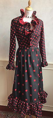 Vintage NETTIE VOGUES 1950's Red Black Polka Dot Spanish Style Dress Small 8 10