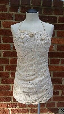 Vintage 50s Cream Lace Alix of Miami Swimsuit Rhinestone Flower Detail As Is
