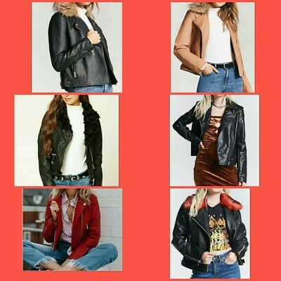 """Lot of 6 ALL NEW with tag faux leather women jackets all fit S chest 36"""""""
